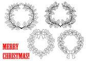 Christmas holly round wreaths — Stock Vector