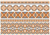 Close up cross stitch ethnic borders and patterns — Stock Vector