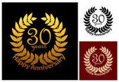 30 Years Anniversary jubilee wreath — Stock Vector