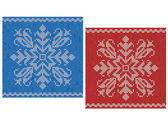 Red and blue stitch patterns with snowflakes — Stock Vector