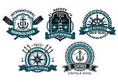 Nautical badges and emblems set in heraldic style — Stock Vector