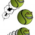 Spiteful tennis ball cartoon characters — Stock Vector #60258411