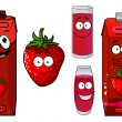 Strawberry fruit, smoothie and juice icon set — Vetorial Stock  #60258421