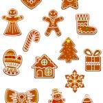 Christmas gingerbread cookies set — Stock Vector #60258755