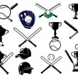 Baseball sports equipments set — Stock Vector #60258799