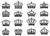 Medieval heraldic royal crowns set — Vector de stock