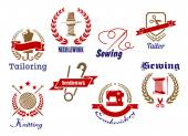 Needlework, knitting and tailoring emblems and icons — Stock Vector