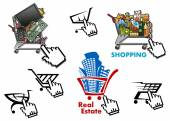 Internet market, store, shop design elements set — Vector de stock