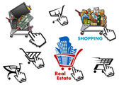 Internet market, store, shop design elements set — Cтоковый вектор