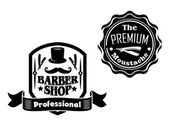 Vintage barber shop banners or labels designs set — Stock Vector
