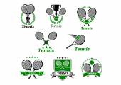 Tennis sporting emblems and banners — Stock Vector
