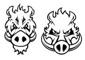 Angry wild boar heads character — Stock Vector