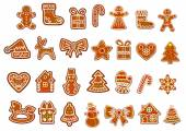 Christmas gingerbread and cookies figures — Stock Vector