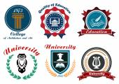 University and college emblems or badges — Vetor de Stock