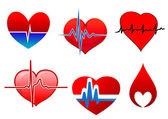 Cardiology symbols and signs with red hearts — 图库矢量图片
