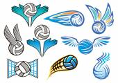 Sporting volleyball emblems and designs — Stock Vector
