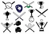 Baseball sports equipments set — Stock Vector