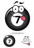 Personaje de dibujos animados de bola de billar siete — Vector de stock