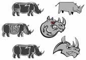 African wild rhinos set — Stock Vector