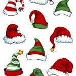 Clown, joker and Santa Claus cartoon hats — Stock Vector #60296227