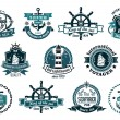 Dark blue nautical labels — Stock Vector #61520239