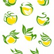 Green or herbal tea icons — Stock Vector #61520247