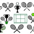 Tennis tournament icons and elements — Stock Vector #61520335