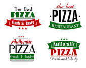 Pizzeria and restaurant banners or emblems — Stock Vector