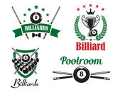 Billiards  or poolroom logo and emblems — Stock Vector