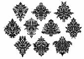 Black ornate floral motifs in damask style — ストックベクタ