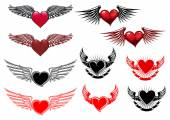Heart tattoos with wings — Stock Vector