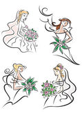 Brides in white dresses with bouquets — Stock Vector