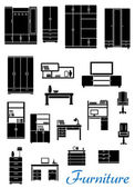 Black wooden furniture flat icons — Stock Vector