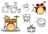 Drum plants and percusiion instruments — Stock Vector