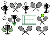 Tennis tournament icons and elements — Stock Vector