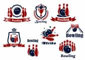 Bowling sports emblems and icons — Stock Vector