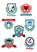 Heraldic symbols for university and college education design — Stock Vector