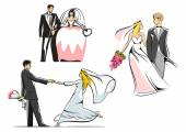 Wedding couples icons — Stock Vector