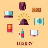 Luxury hotel service flat icons — Stock Vector
