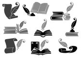 Books with quill feathers icon set — Stock Vector