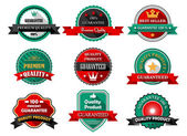 Flat quality and guarantee labels — Stock Vector