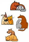 Cartoon friending cat and dog pets — Stock Vector