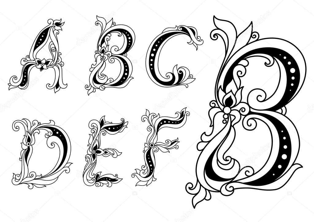 Capital Letters in Calligraphy Capital Outline Floral Letters