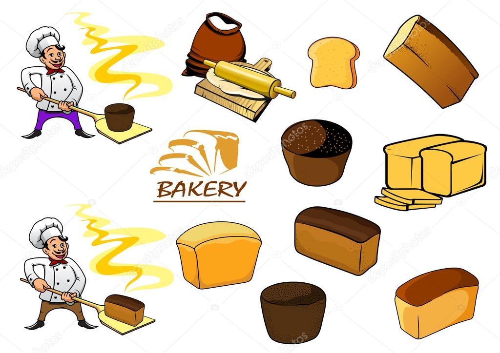 Objetos De Dibujos Animados Panadería Y Panadero
