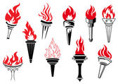 Vintage torches with burning flames — Stock Vector