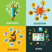 Research, science and brainstorm flat concepts — Stockvector