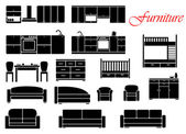 Assorted home furniture set — Stock Vector