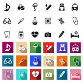 Black and coloured flat medical icons — Stock Vector