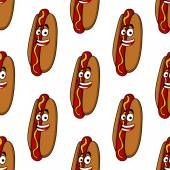 Smiling hot dog seamless pattern — Stock Vector