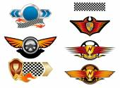Racing sports emblems and symbols — Vetorial Stock